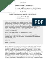 Mahaman Haoua v. Alberto R. Gonzales, Attorney General, 472 F.3d 227, 4th Cir. (2007)