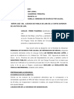 Demanda de Divorcio Por Sepracion de Hecho.