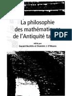 La Philosophie Des Mathématiques de l'Antiquité Tardive (Cur. Gerald Bechtle & Dominic J. O'Meara)
