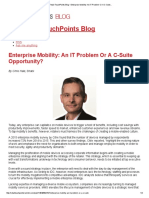 """""""Enterprise Mobility - An IT Problem or A C-Suite Opportunity?,"""" The Retail Touchpoints Blog, August 2016"""