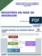 Registros en Fase de Inversión
