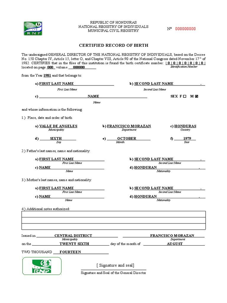 233509397 english translation of a birth certificate from honduraspdf yadclub Gallery
