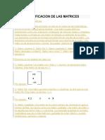 Clasificacion de Las Matrices