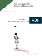 Perez Quintero Monica Actividad 1 Mi Experiencia en La Educacion Artistica