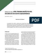 Analisis Del Nivel Pragmalinguistico Del Discurso de Un Sujeto Esquizofrenico