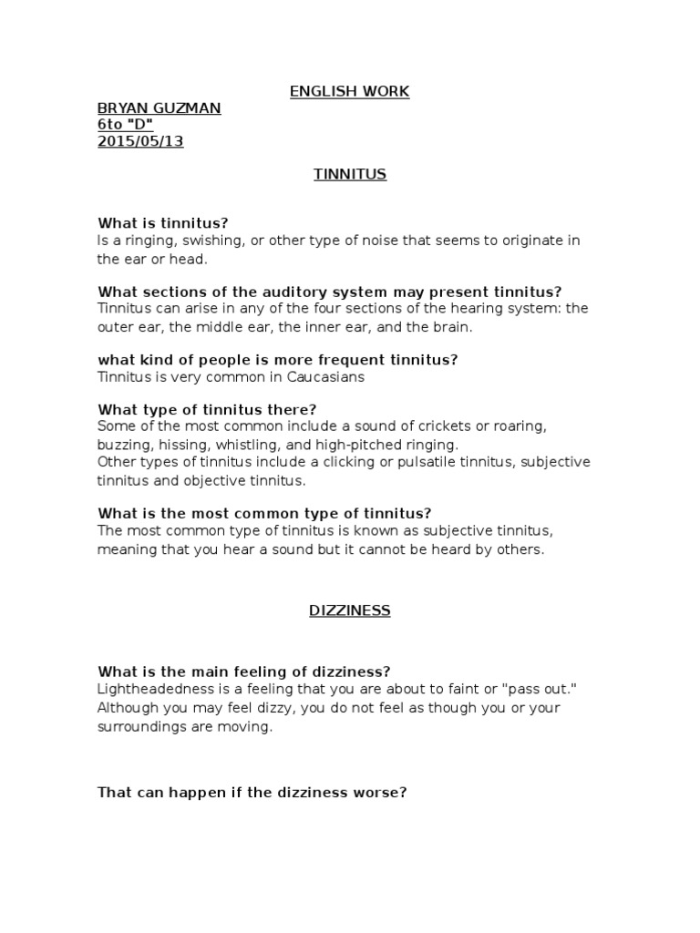 Vertigo English Work | Vertigo | Tinnitus