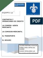Contratos y operaciones de Crédito