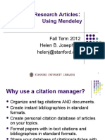 Mendeley for Researchers 2012