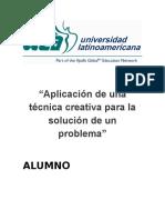 Aplicacion de Una Técnica Creativa Para La Solución de Un Problema