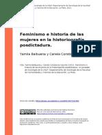 Yamila Balbuena;Canela Constanza Gavrila (2012). Feminismo e Historia de Las Mujeres en La Histo..