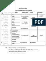 Cluster Training Schedule August