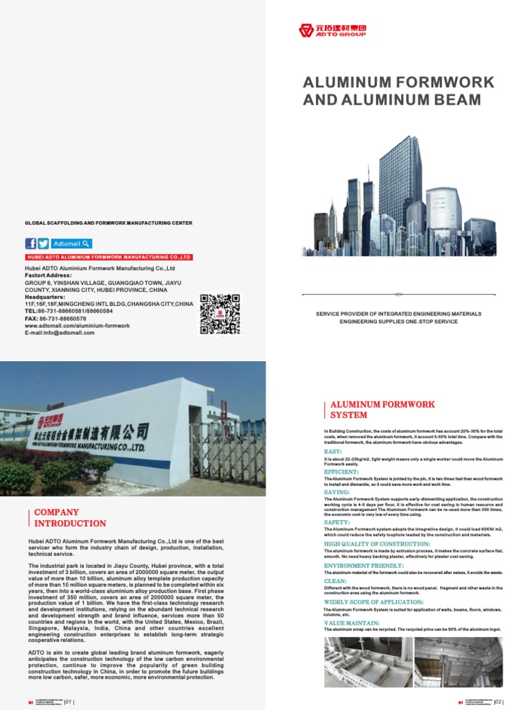 2016 Aluminum Formwork Brochure-email (1) pdf | Production And