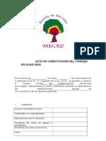 Acta de Constitución Del Consejo Escolar 2012