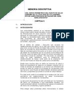 Memoria Descriptiva Centro de Salud Colcabamba
