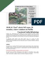 18.08.16 _Earl_ afectó 945 casas, 28 escuelas y nueve caminos en Puebla