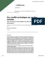 Droit & Cultures 71, Mathieu, Du conflit archaique au mythe osirien