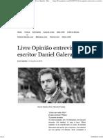 Entrevista Com Daniel Galera Pelo Livre Opinião (31 de Julho de 2015)