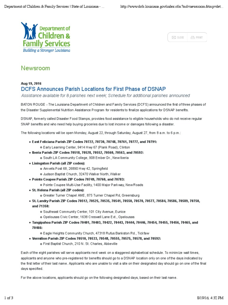 Services State Of Louisiana Department Of Children & Family Services State  Of Louisiana Supplemental Nutrition Assistance Requirements For Food