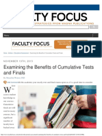 Examining the Benefits of Cumulative Tests and Finals
