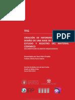 Creación de Informes Mediante El Diseño de Una Base de Datos Para El Estudio y Registro Del Material Cerámico