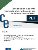 Recomendación General contra la discriminación en la Oferta