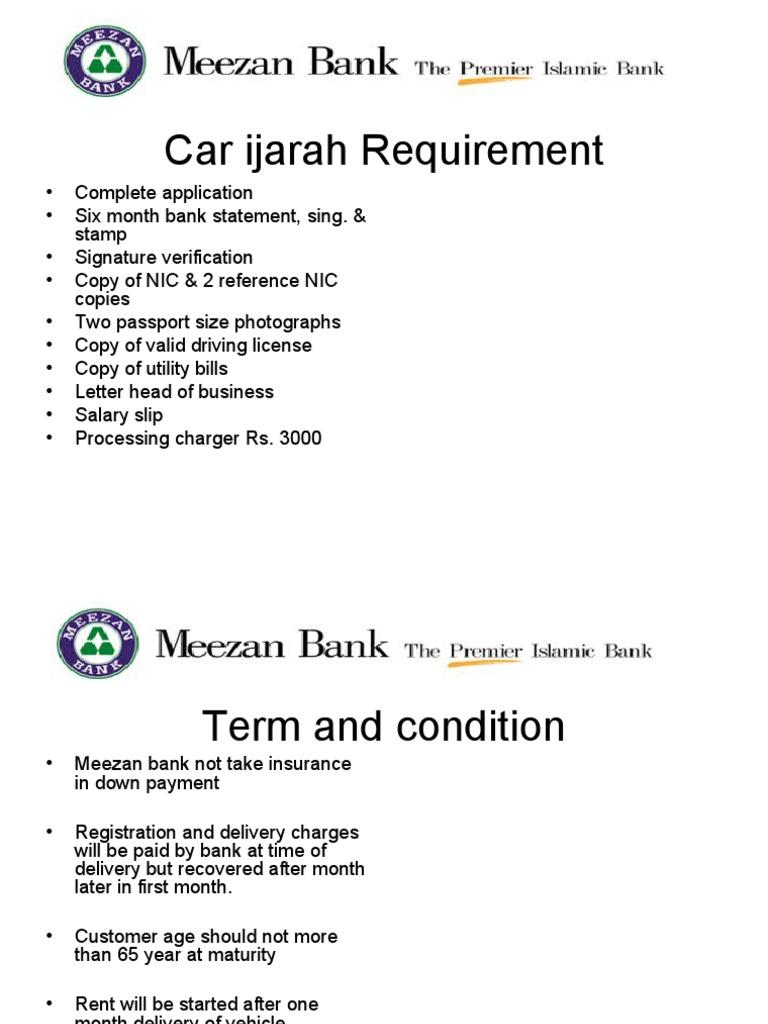 Meezan Bank Car Ijara Calculater Car Land Vehicles