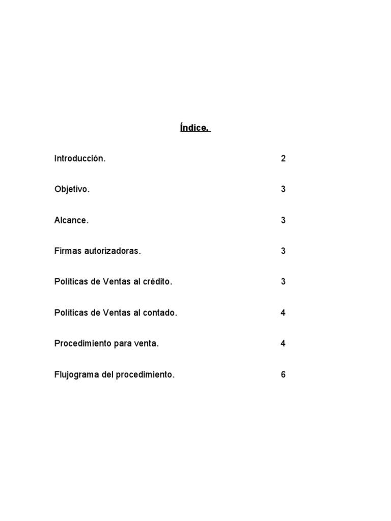 Manual de procedimientos para ventas de crédito y de contado