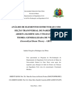 ANÁLISE DE ELEMENTOS ESTRUTURAIS COM SEÇÃO TRANSVERSAL DE PAREDE FINA ABERTA RAMIFICADA UTILIZANDO A TEORIA GENERALIZADA DE VIGAS