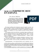Ser intérprete hoy en España. Álvaro Marías.