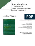 Puiggros Sujetos disciplina y curriculum