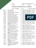 DISTRIBUCIÓN DE POSTULANTES POR AULA / PABELLON/ ORDEN ALFABETICO