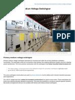 Basics of Primary Medium Voltage Switchgear