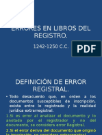 Errores en El Registro