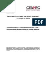 Información estadística y cualitativa sobre violencia en la niñez y en la adolescencia (delitos sexuales) en las entidades federativas