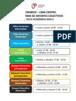 Horarios Del Programa de Deportes 2016-3 Lima Centro