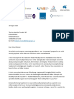 Welfare groups letter to Prime Minister