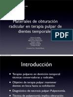 Materiales de obturación radicular en terapia pulpar en denticion temporal