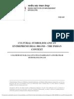 Cultural Symbolism and Entrepreneural Brand- Indian Context