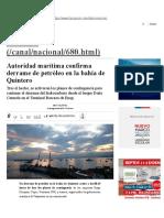 Autoridad Marítima Confirma Derrame de Petróleo en La Bahía de Quintero _ Nacional _ LA TERCERA