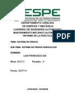 Informe Sistema de Frenos Hidraulicos
