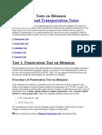 General Test on Bitumen