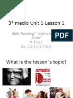 3° medio Unit 1 Lesson 1