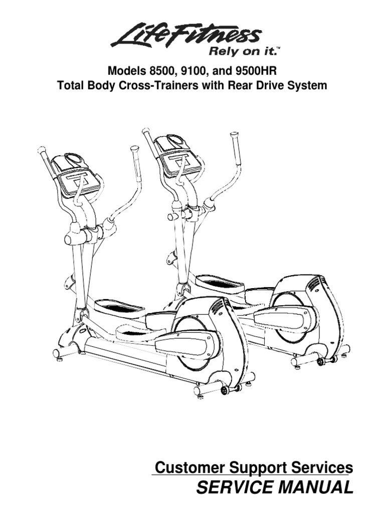 Life Fitness Models 8500, 9100, and 9500HR Cross-Trainers
