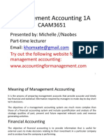 Management Accounting 1A Lecture Notes