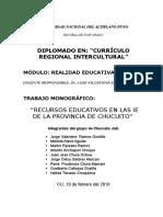 Monografia Relidad Ecuativa Currículo Regional Intercultural
