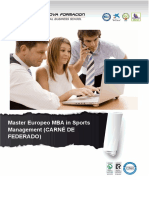 Master Europeo MBA in Sports Management (CARNÉ DE FEDERADO)