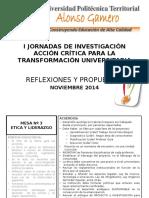 Acuerdos Mesa Nº 3 i Jornadas Iac 2014