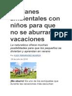 10 Planes Ambientales Con Niños Para Que No Se Aburran en Vacaciones