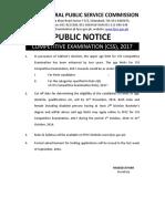 Public Notice CE-17 - Enhancement in Upper Age Limit
