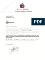 Cartas de condolencias del presidente Danilo Medina para Carolina Bosch García y María Elena García por el fallecimiento de José Nicolás Stefan Bosch